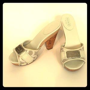 Coach white platform sandals EUC